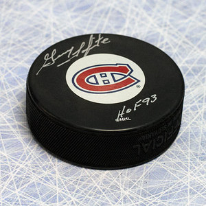 Guy Lapointe Montreal Canadiens Autographed Hockey Puck with HOF Inscription