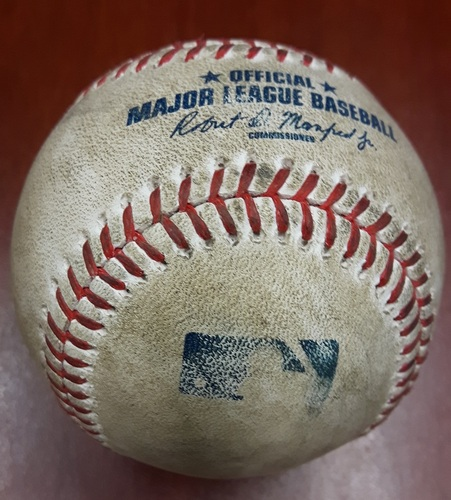 Photo of Authenticated Game Used Baseball (April 14, 2017 vs BAL) - Kevin Pillar Hit by Pitch on Slider by Wade Miley (Bot 5)
