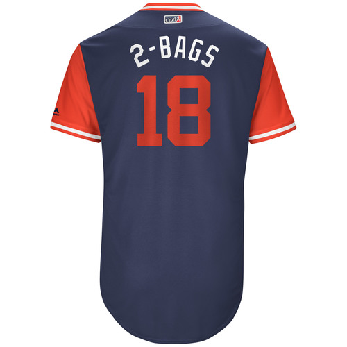 """Photo of Mitch """"2-Bags"""" Moreland Boston Red Sox Game-Used Players Weekend Jersey"""