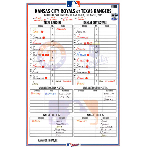 Photo of Texas Rangers Game-Used Lineup Card vs. Kansas City Royals on May 11, 2015