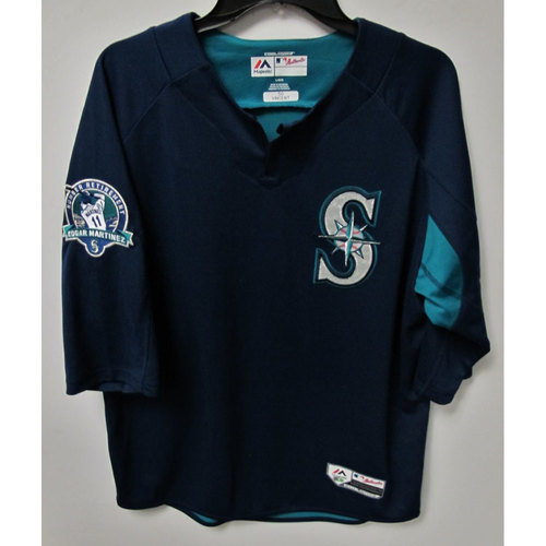 Photo of Nick Vincent Game-Used BP Jersey With Edgar Martinez Patch Worn 8-12-2017