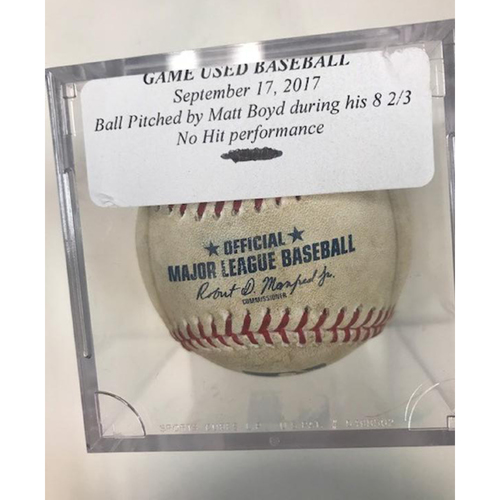 Photo of Game-Used Baseball: Ball Pitched by Matt Boyd During 8 2/3 No Hit Performance