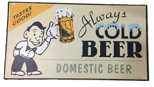 Photo of Wrigley Field Collection - 'Always Cold Domestic Beer' Concourse Sign - JB097778