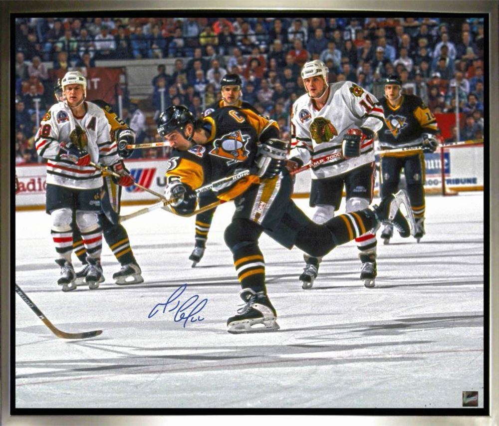 Mario Lemieux Signed, Framed 20 x 24 Canvas with Pittsburgh - Shooting Image