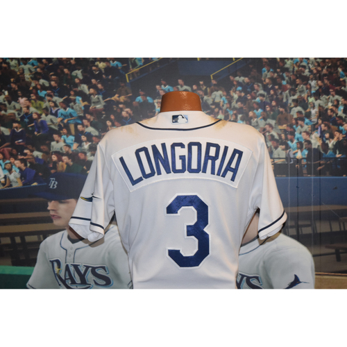 Photo of Game-Used Jersey: Evan Longoria Club Record for games played as a Tampa Bay Ray