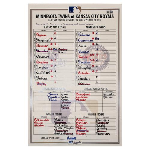 Photo of September 29, 2016 (MIN @ KC) Line Up  Card