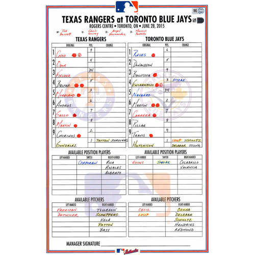 Photo of Texas Rangers Game-Used Lineup Card vs. Toronto Blue Jays on June 28, 2015. Odor and Andrus 3 Hit Games