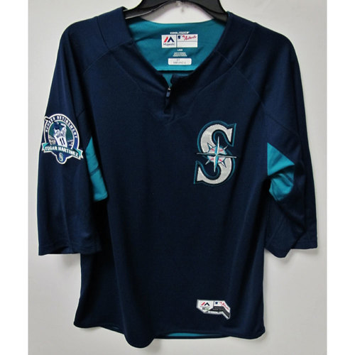 Photo of Ariel Miranda Game-Used BP Jersey With Edgar Martinez Patch Worn 8-12-2017