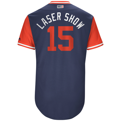 "Photo of Dustin ""Laser Show"" Pedroia Boston Red Sox Team-Issued Players Weekend Jersey"