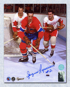 Jacques Laperriere Montreal Canadiens Autographed Defending vs Howe 8x10 Photo