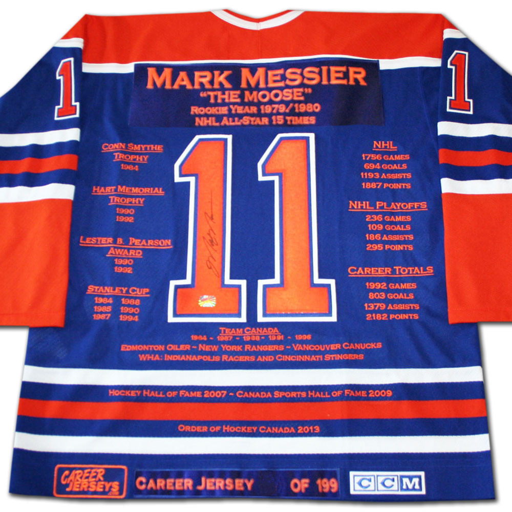 Mark Messier Autographed Career Stats Limited-Edition Edmonton Oilers Jersey