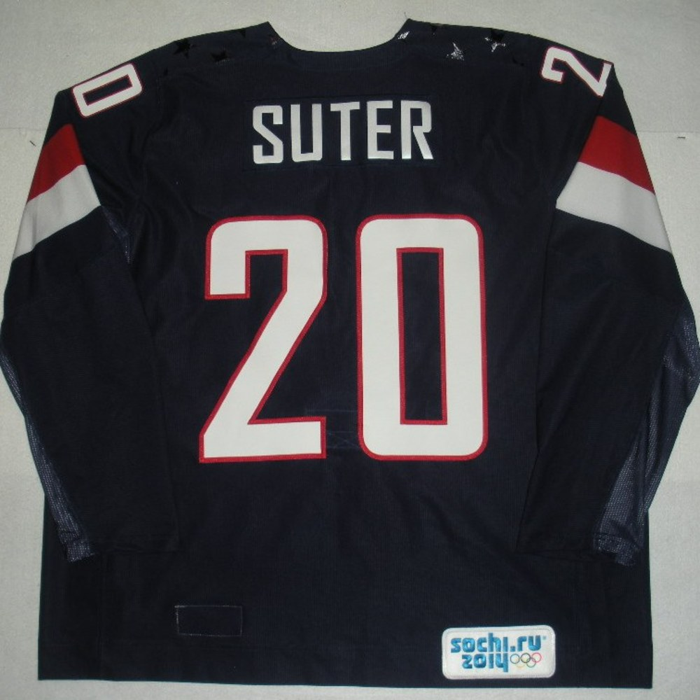 Ryan Suter - Sochi 2014 - Winter Olympic Games - Team USA Blue Game-Worn Jersey - Bronze Medal Game vs. Finland, 2/22/14