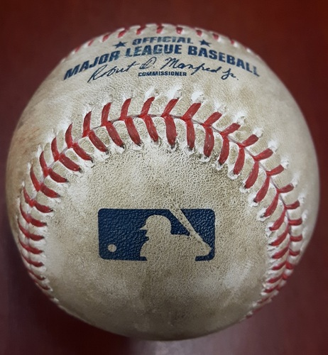 Photo of Authenticated Game Used Baseball (April 15, 2017 vs BAL) - Adam Jones strikes out on Curveball by Marco Estrada (Top 1)