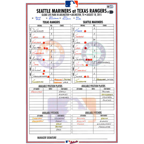 Photo of Texas Rangers Game-Used Lineup Card vs. Seattle Mariners on August 18, 2015