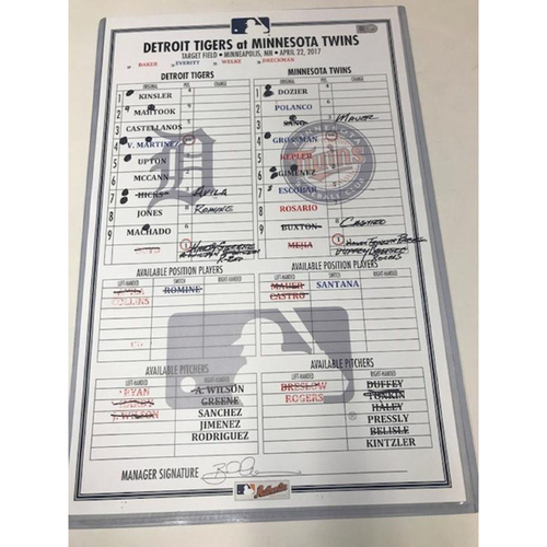 Photo of Game-Used Line-Up Card: Nicholas Castellanos' 3rd Home Run of 2017