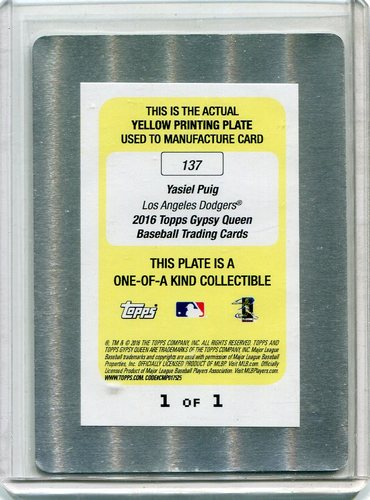 Photo of 2016 Topps Gypsy Queen Printing Plates Yellow #137 Yasiel Puig 1/1