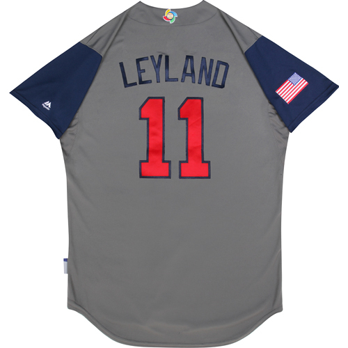 2017 World Baseball Classic: (USA vs. DR)  Round 1 - Jim Leyland Team USA Game-Used Road Gray Jersey - Size 44