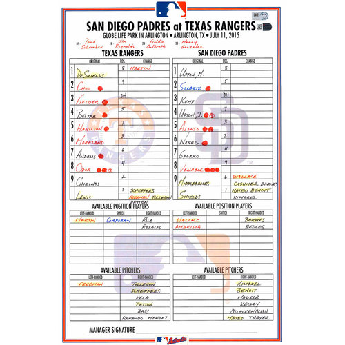 Photo of Texas Rangers Game-Used Lineup Card vs. San Diego Padres on July 11, 2015. Moreland 2 HR Game