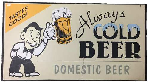 Photo of Wrigley Field Collection - 'Always Cold Domestic Beer' Concourse Sign - JB097779