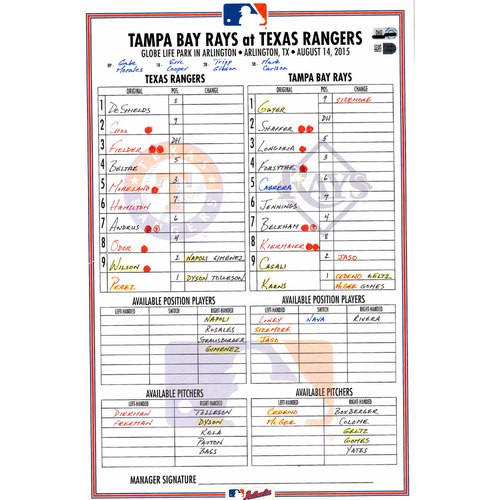 Photo of Texas Rangers Game-Used Lineup Card vs. Tampa Bay Rays on August 14, 2015. DeShields 1st Career HR Game.
