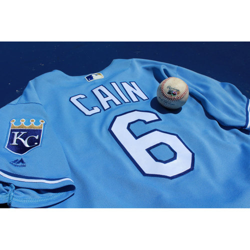 Photo of Lorenzo Cain Game-Used Jersey and Walk-Off Single Baseball (7/16/17 TEX at KC) (Size 46)