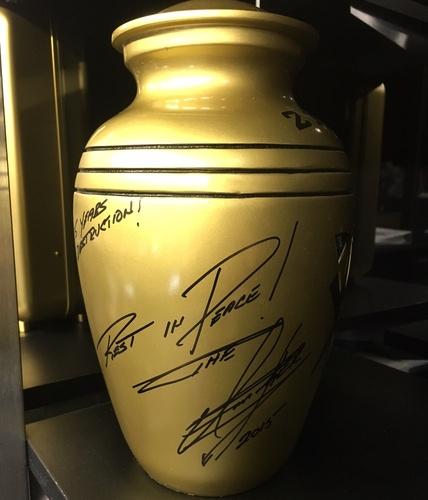 "Photo of Undertaker SIGNED ""The Streak"" Comemmorative Urn (Survivor Series - 11/22/15)"