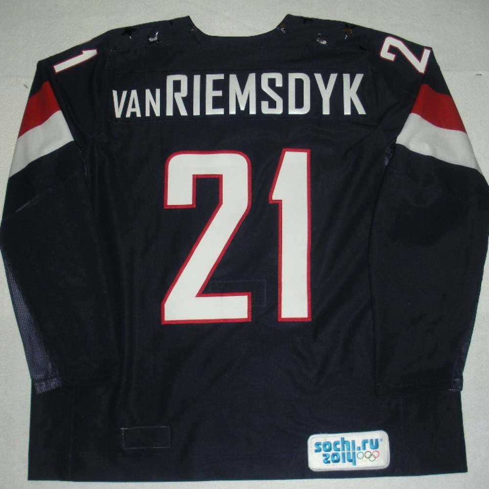 James van Riemsdyk - Sochi 2014 - Winter Olympic Games - Team USA Blue Game-Worn Jersey - Bronze Medal Game vs. Finland, 2/22/14