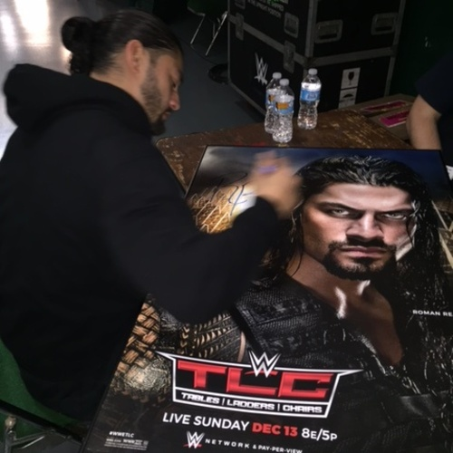 Photo of Roman Reigns SIGNED Framed Foam TLC 2015 Poster