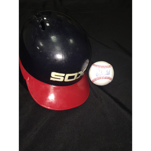 Photo of Carlton Fisk Autographed Baseball and 2016 Team-Issued 1983 Style Helmet