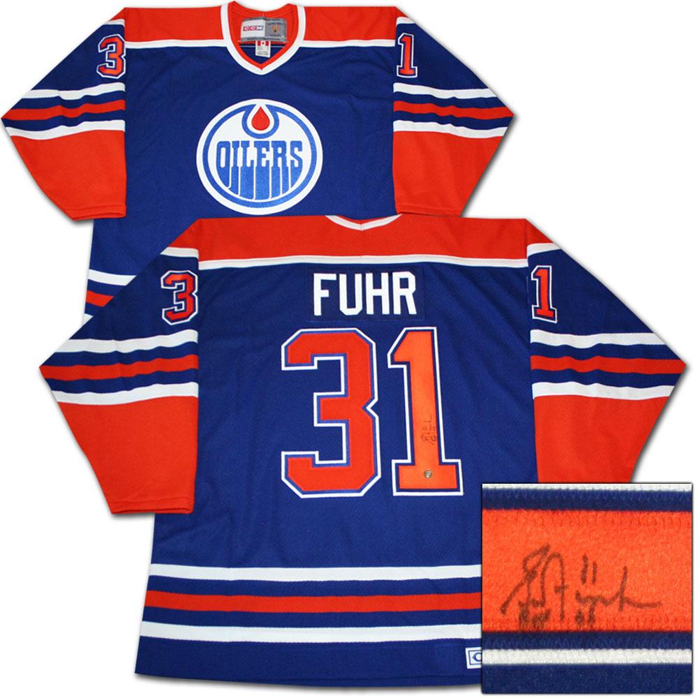 Grant Fuhr Autographed Edmonton Oilers Jersey w/HOF 03 Inscription