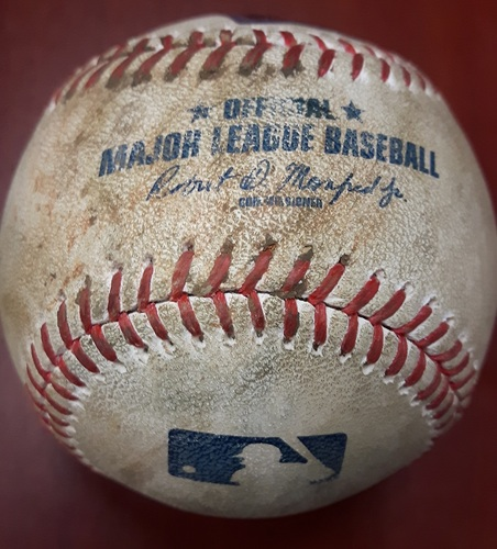 Photo of Authenticated Game Used Baseball (April 16, 2017 vs BAL) - Jose Bautista walks. Changeup by Dylan Bundy (Bot 4)