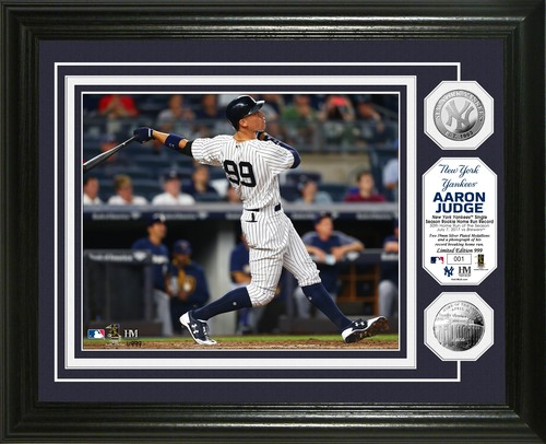 Photo of Serial #1! Aaron Judge Home Run Record Silver Coin Photo Mint