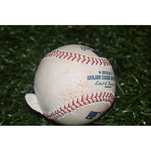 Photo of Game-Used Baseball: Matt Duffy Single against Edwin Jackson