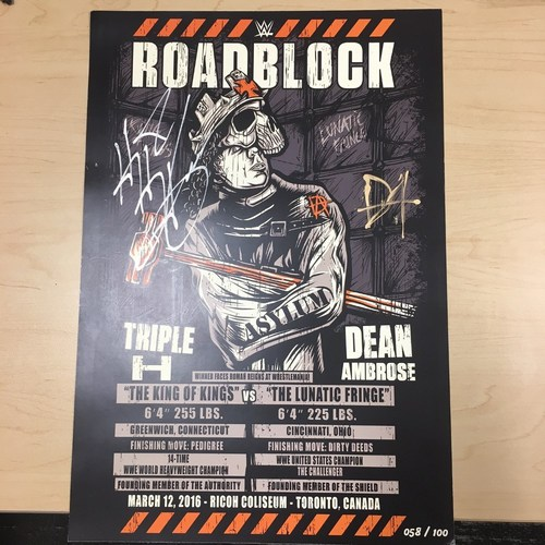 Photo of Triple H & Dean Ambrose SIGNED WWE Roadblock Match Card