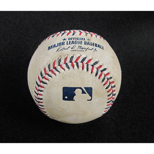 Photo of July 4th 2017 Game-Used Baseball Felix Hernandez Strikeout Top 4 - Salvador Perez - 8 - Swinging Strike (Blocked)