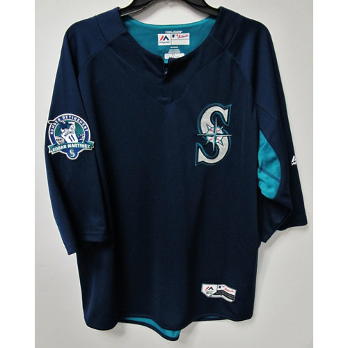 Photo of James Paxton Team-Issued BP Jersey With Edgar Martinez Patch Worn 8-12-2017