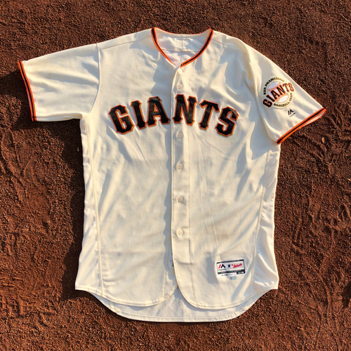 Photo of San Francisco Giants - HOLIDAY STEALS - 2017 Game-Used Jersey - worn by #45 Matt Moore on 9/20/2017 - 6.0 IP, 6 H, 0 ER, 6 K's, WIN - (Size: 46)