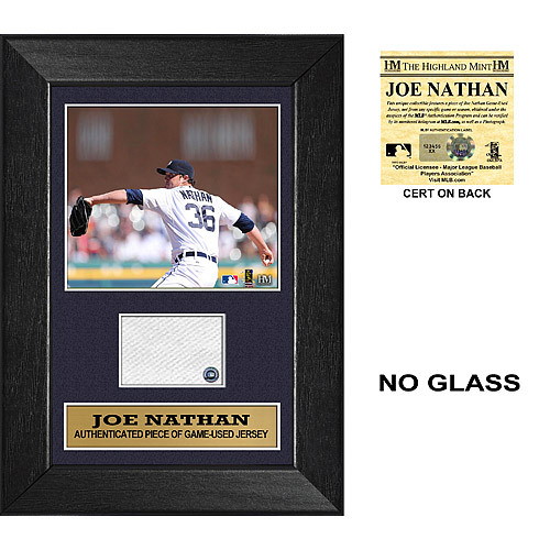 Photo of Detroit Tigers Joe Nathan Mini Plaque with Game Used Jersey Swatch