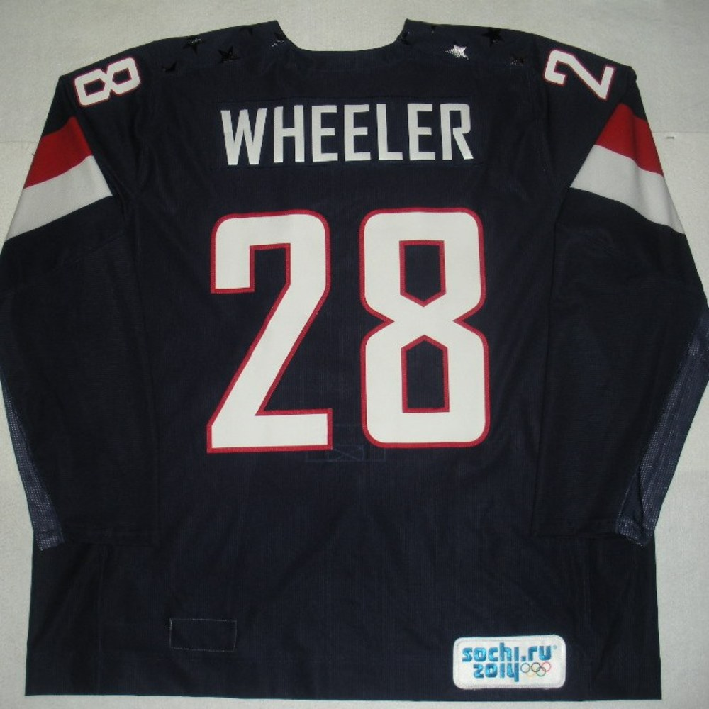 Blake Wheeler - Sochi 2014 - Winter Olympic Games - Team USA Blue Game-Worn Jersey - Bronze Medal Game vs. Finland, 2/22/14