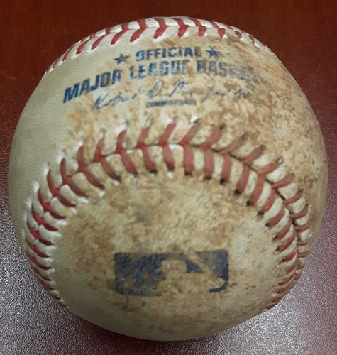 Photo of Authenticated Game Used Baseball (April 18, 2017 vs BOS) - Troy Tulowitzki singles on a soft ground ball to third baseman Pablo Sandoval.   Kendrys Morales to 2nd.  Curveball by Brian Johnson. (Bot 1)