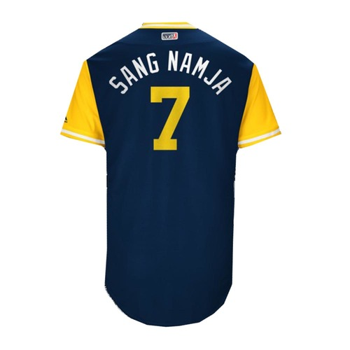 """Photo of Eric """"Sang Namja"""" Thames Milwaukee Brewers Game-Used Players Weekend Jersey"""