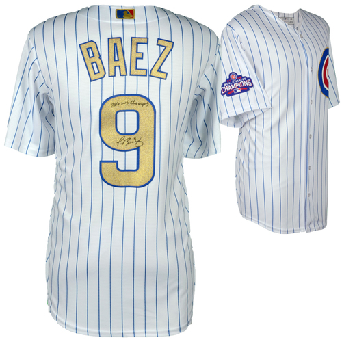 Photo of Javier Baez Chicago Cubs Autographed Majestic White World Series Champions Gold Program Replica Jersey with 2016 WS Champs Inscription