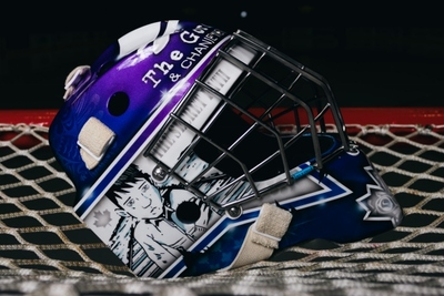 Victoria Royals goalie mask for the Downie-Wenjack Fund