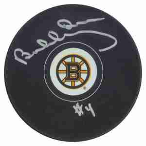 Bobby Orr - Signed Boston Bruins Logo Puck #4