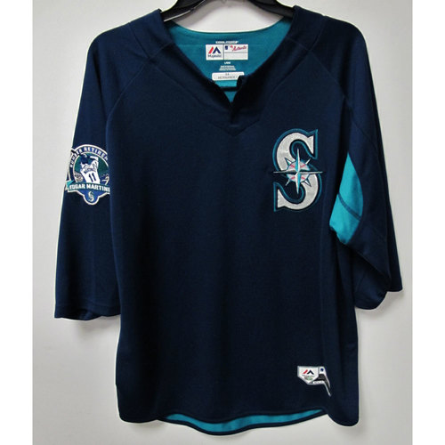 Photo of Felix Hernandez Team-Issued BP Jersey With Edgar Martinez Patch Worn 8-12-2017