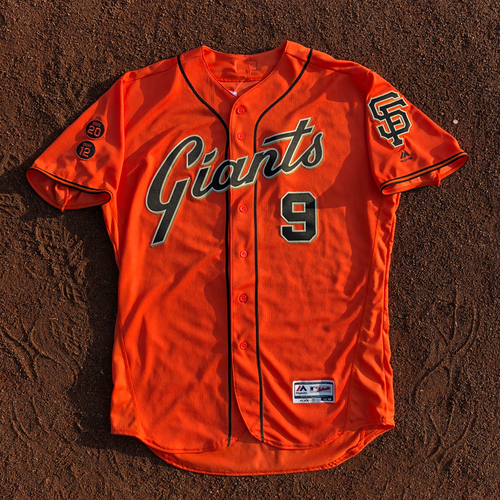Photo of San Francisco Giants - HOLIDAY STEALS - 2016 Game-Used Jersey - worn by #9 Brandon Belt on 9/30/2016 - 3-3, 1 Double, 3 RBI, 2 R, 1 BB - (Size: 48)