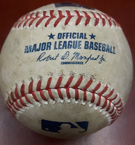 Photo of Authenticated Game Used Baseball (April 18, 2017 vs BOS) - Justin Smoak from Brian Johnson.  Home Run # 2 of the season