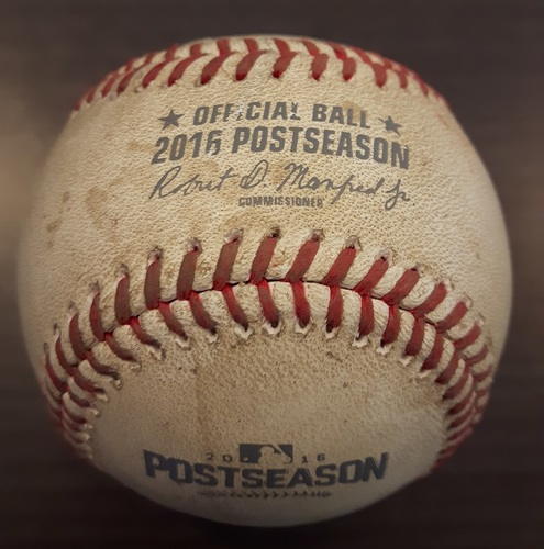 Photo of Authenticated Game Used Postseason Baseball (October 9, 2016 - ALDS Game 3 vs TEX) - Batter - Ezequiel Carrera, Pitcher - Keone Kela, Bottom of 6, Passed ball. Tulowitzki scores from third. Game is tied 6-6.