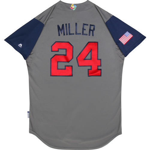 2017 World Baseball Classic: (USA vs. DR)  Round 1 - Andrew Miller Team USA Game-Used Road Gray Jersey - Size 48
