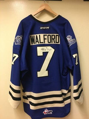 Autographed and game worn Victoria Royals Scott Walford jersey